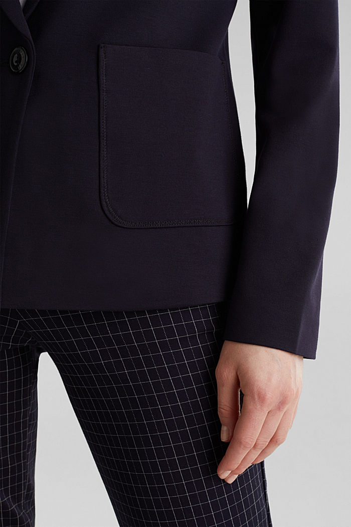 Stretch jersey blazer with pockets, NAVY, detail image number 0