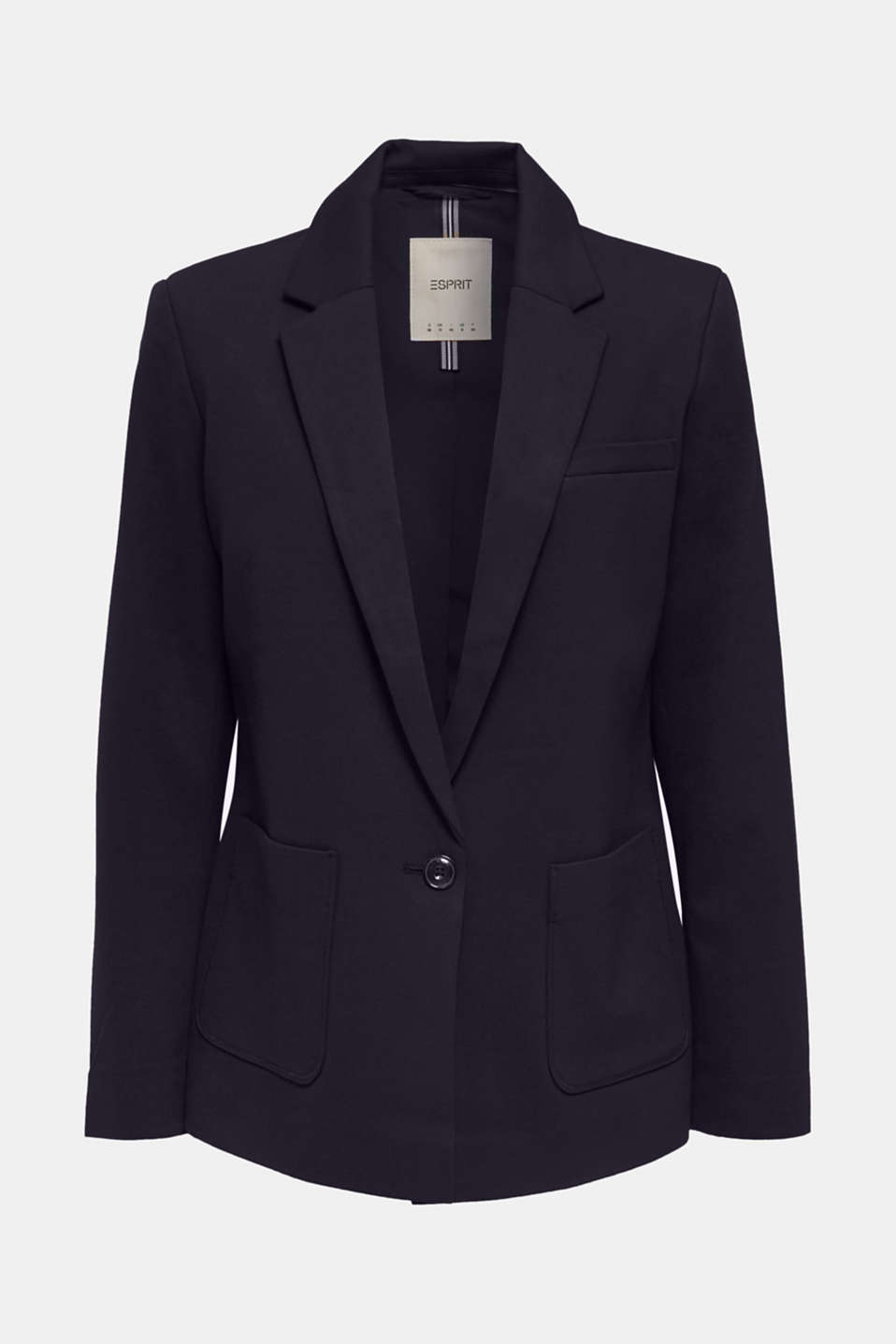 Stretch jersey blazer with pockets, NAVY, detail image number 4