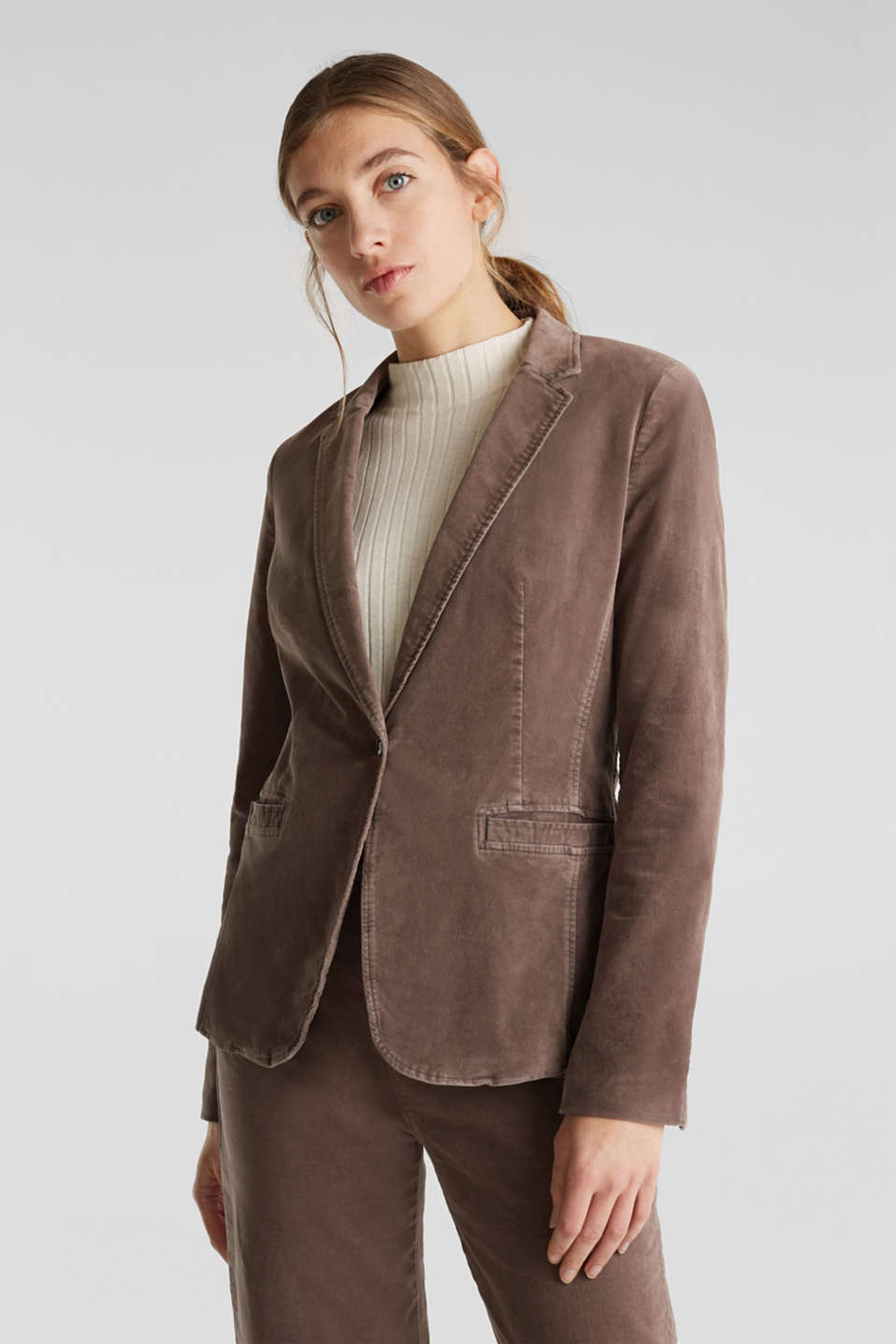 Velvet blazer with stretch for comfort, LIGHT TAUPE, detail image number 0