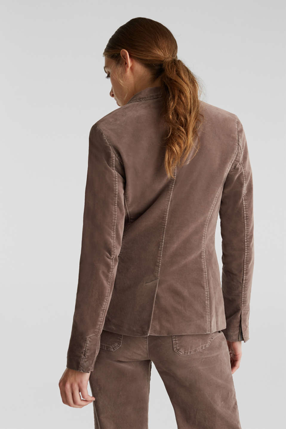 Velvet blazer with stretch for comfort, LIGHT TAUPE, detail image number 3