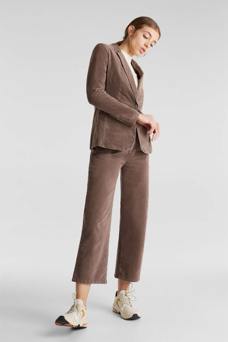 Velvet blazer with stretch for comfort, LIGHT TAUPE, detail image number 1
