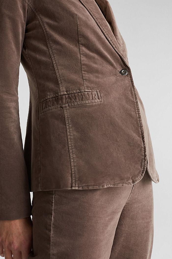 Samt-Blazer mit Stretchkomfort, LIGHT TAUPE, detail image number 2