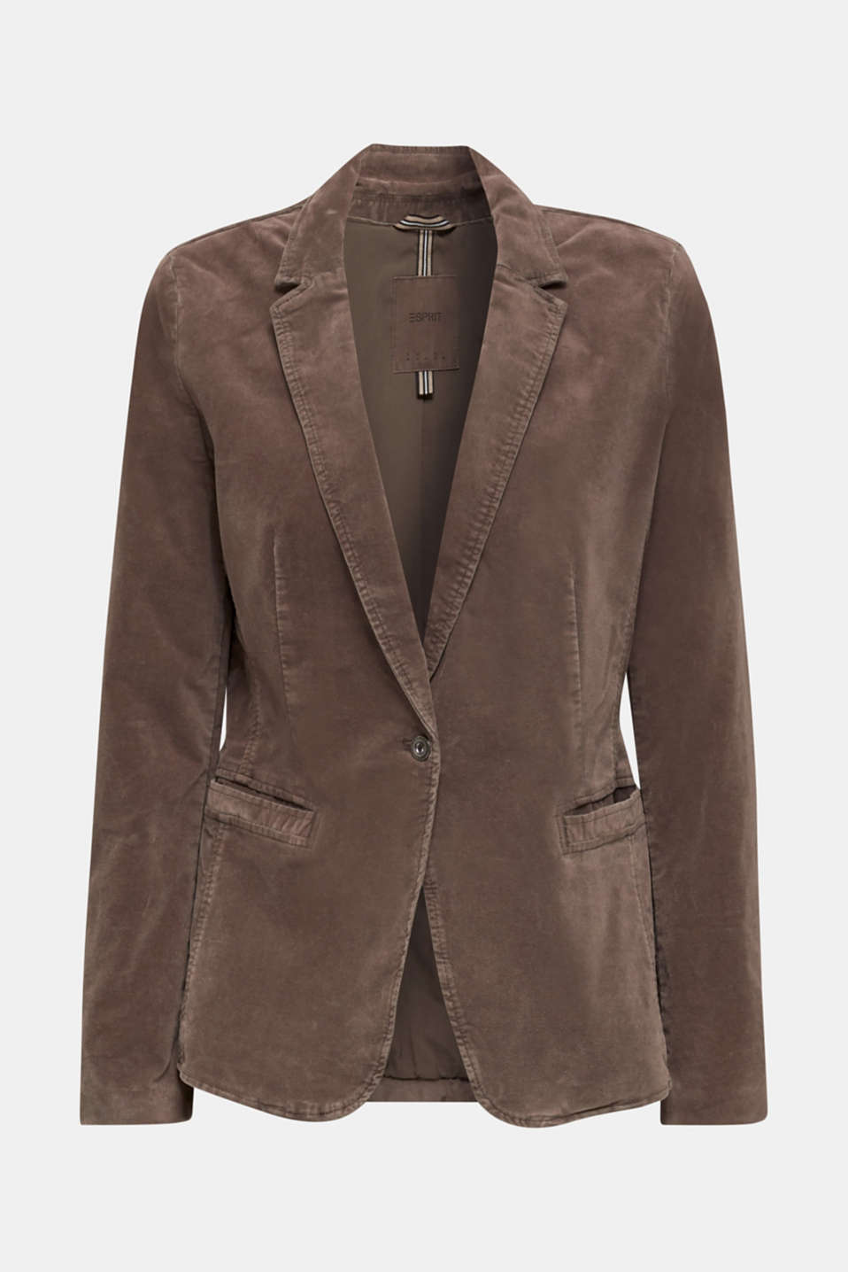 Velvet blazer with stretch for comfort, LIGHT TAUPE, detail image number 6