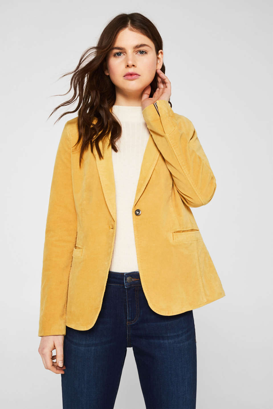 Esprit - Blazer en velours au confort stretch