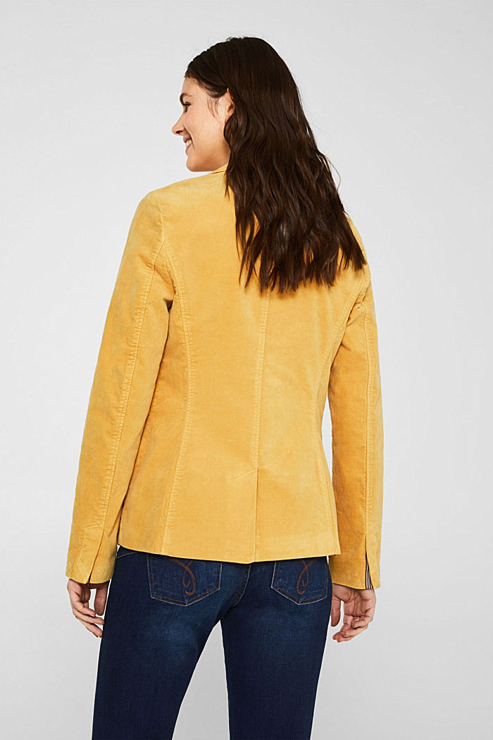 Velvet blazer with stretch for comfort, DUSTY YELLOW, detail image number 3