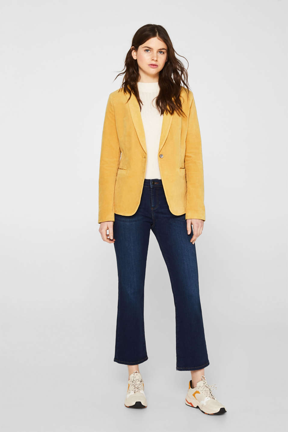 Velvet blazer with stretch for comfort, DUSTY YELLOW, detail image number 1