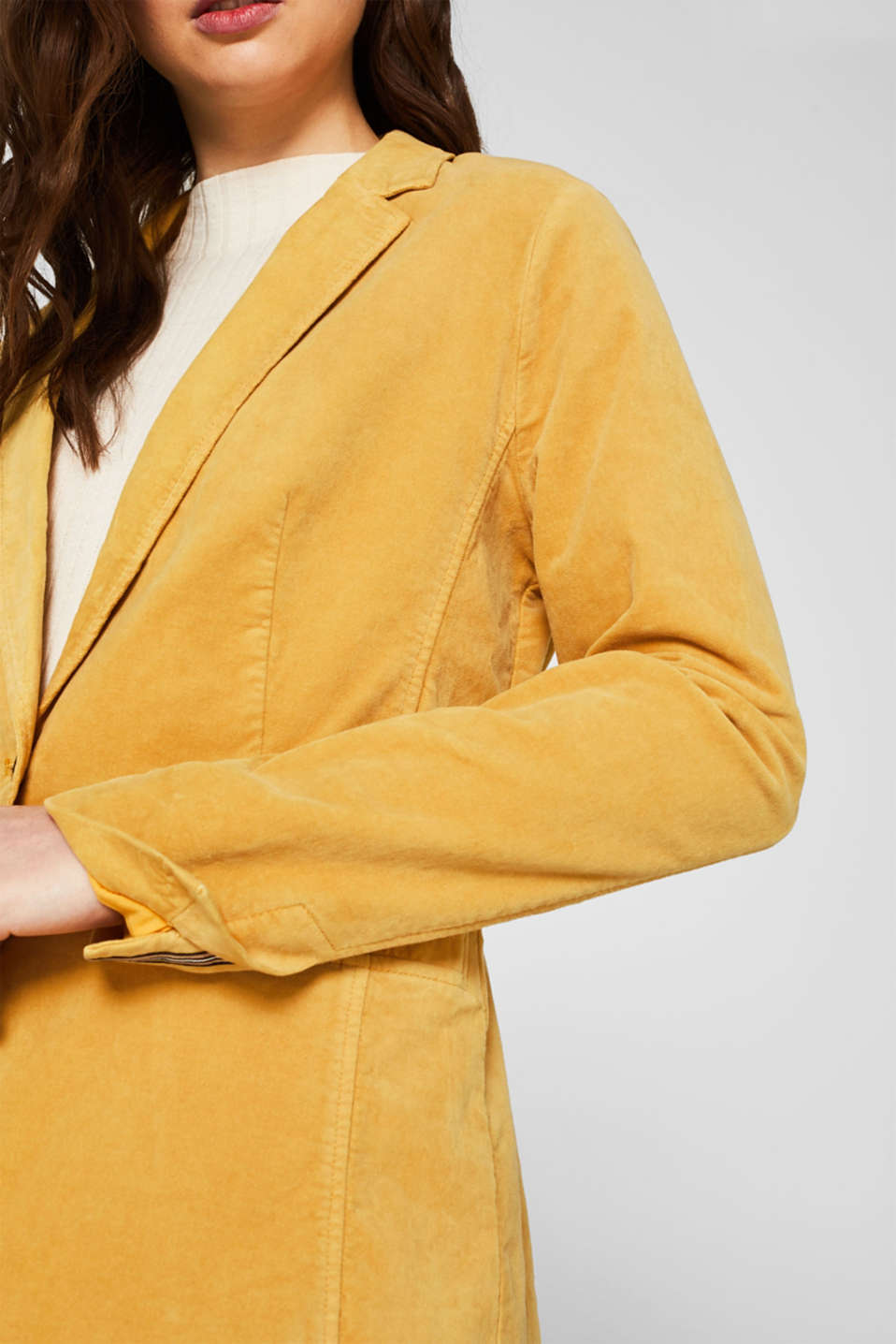 Velvet blazer with stretch for comfort, DUSTY YELLOW, detail image number 2