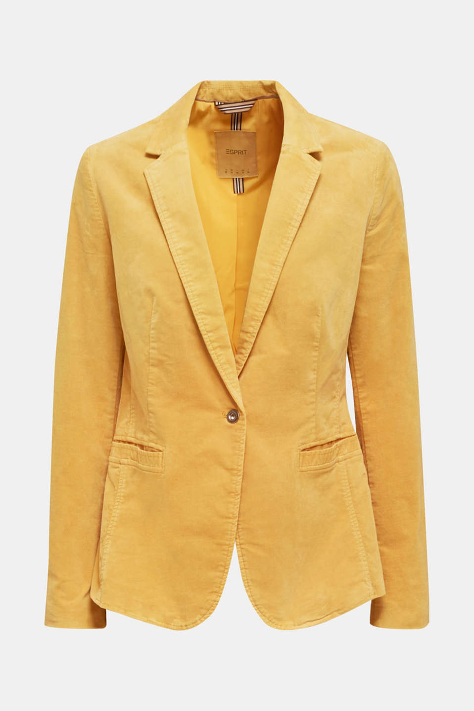 Velvet blazer with stretch for comfort, DUSTY YELLOW, detail image number 5