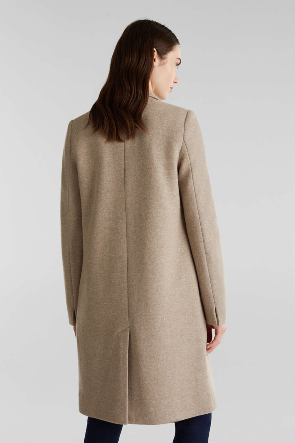 Made of blended wool: ready-to-wear knit coat, BEIGE 5, detail image number 2