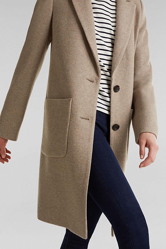 Af uldblanding: færdigsyet strikfrakke, BEIGE, detail image number 4