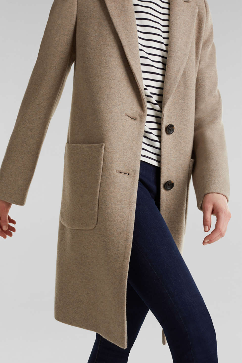 Made of blended wool: ready-to-wear knit coat, BEIGE 5, detail image number 4