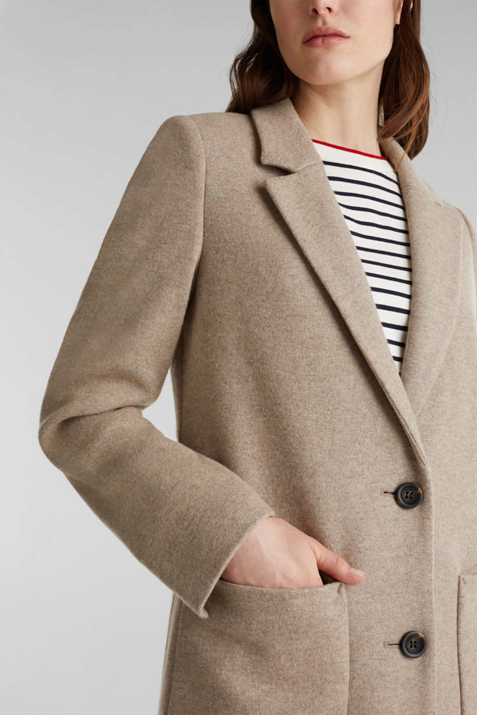 Made of blended wool: ready-to-wear knit coat, BEIGE 5, detail image number 1