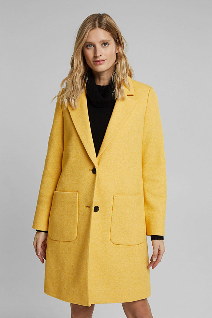With wool: Coat in a fine knitted look, DUSTY YELLOW, detail image number 0
