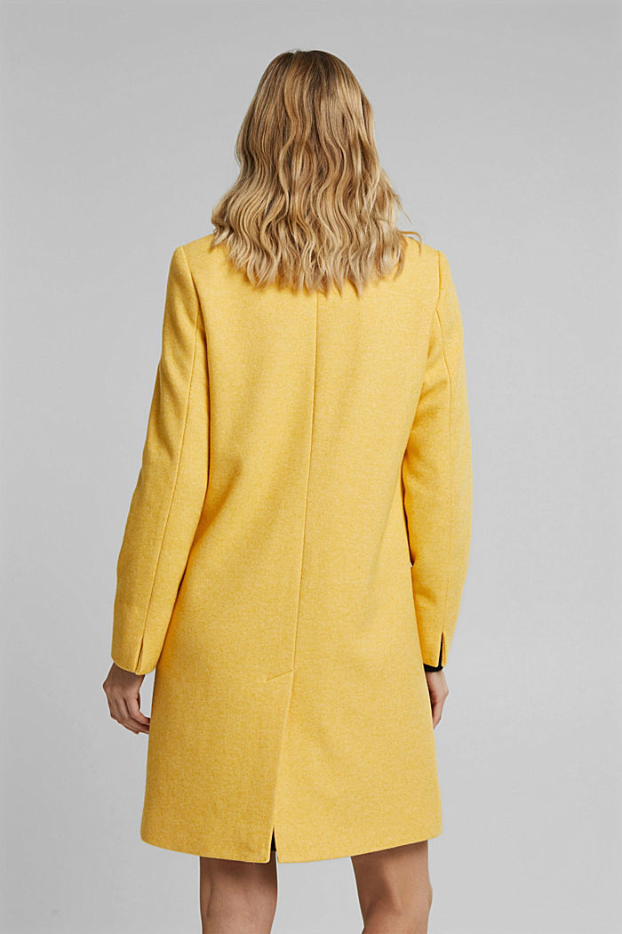 With wool: Coat in a fine knitted look, DUSTY YELLOW, detail image number 3