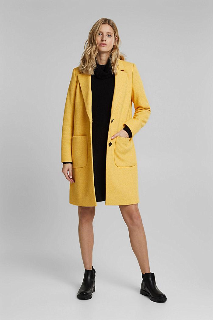Con lana: abrigo de punto fino, DUSTY YELLOW, detail image number 1