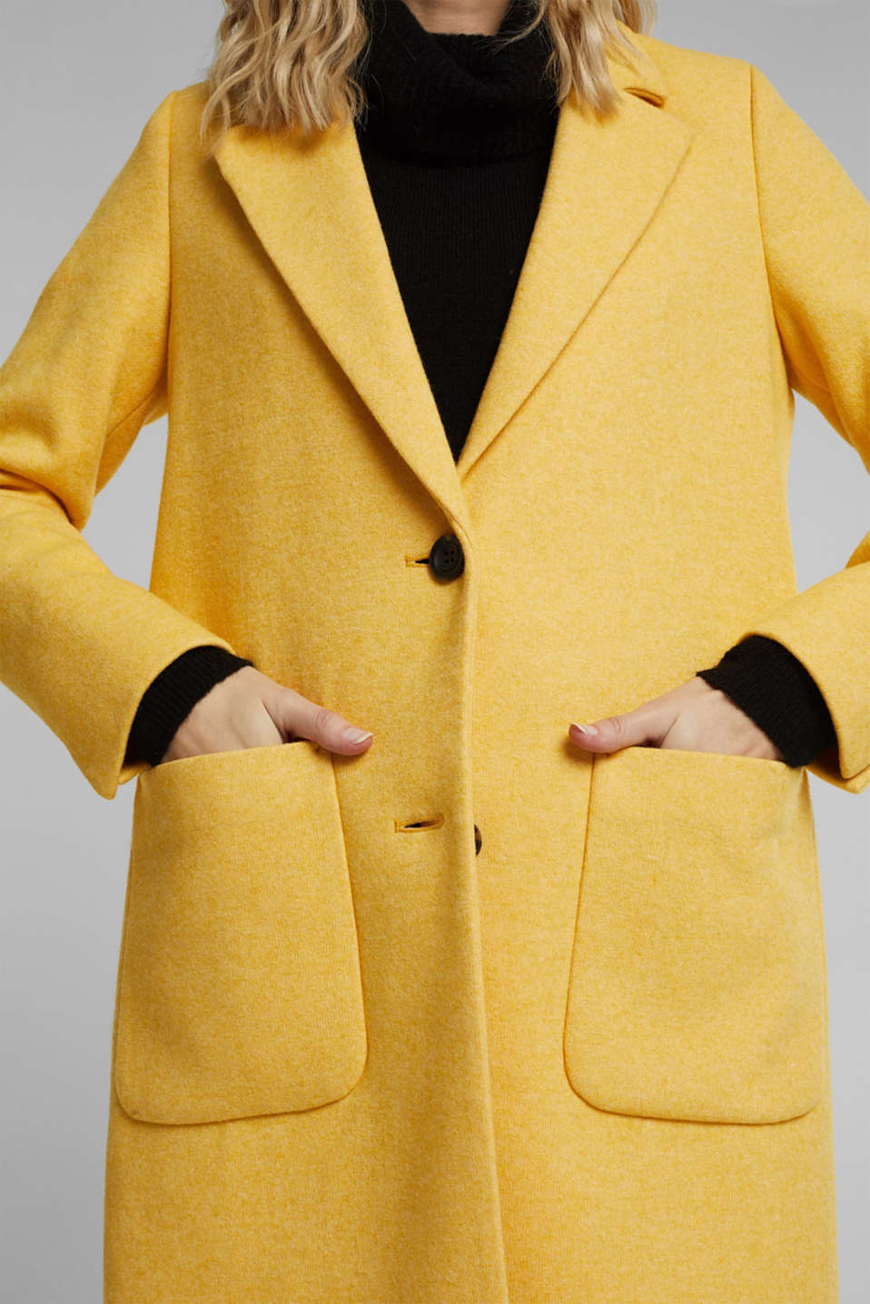 With wool: Coat in a fine knitted look, DUSTY YELLOW, detail image number 2