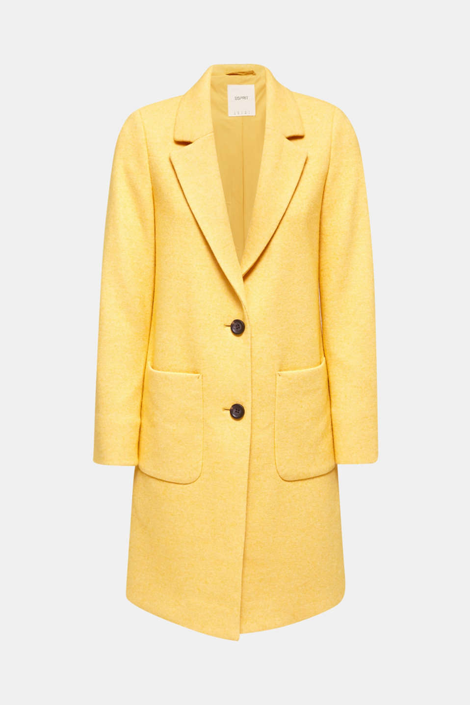 With wool: Coat in a fine knitted look, DUSTY YELLOW, detail image number 7