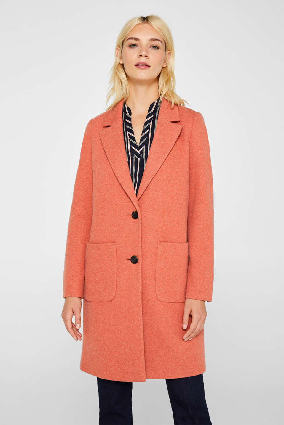 Esprit - Made of blended wool: Coat in a knit look