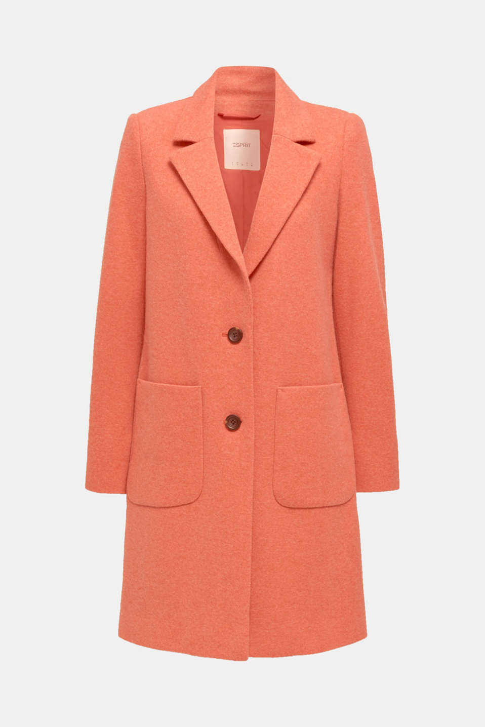 Made of blended wool: Coat in a knit look, BURNT ORANGE, detail image number 6