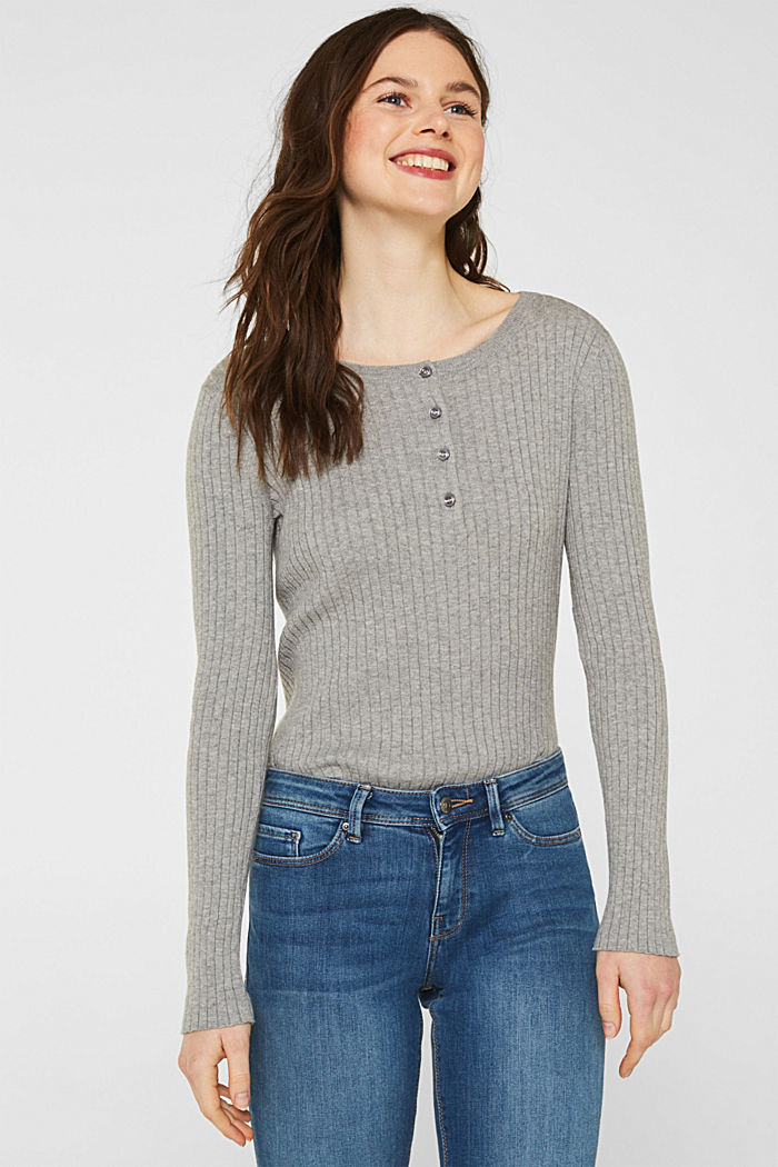 With silk: ribbed jumper with buttons, MEDIUM GREY, detail image number 0