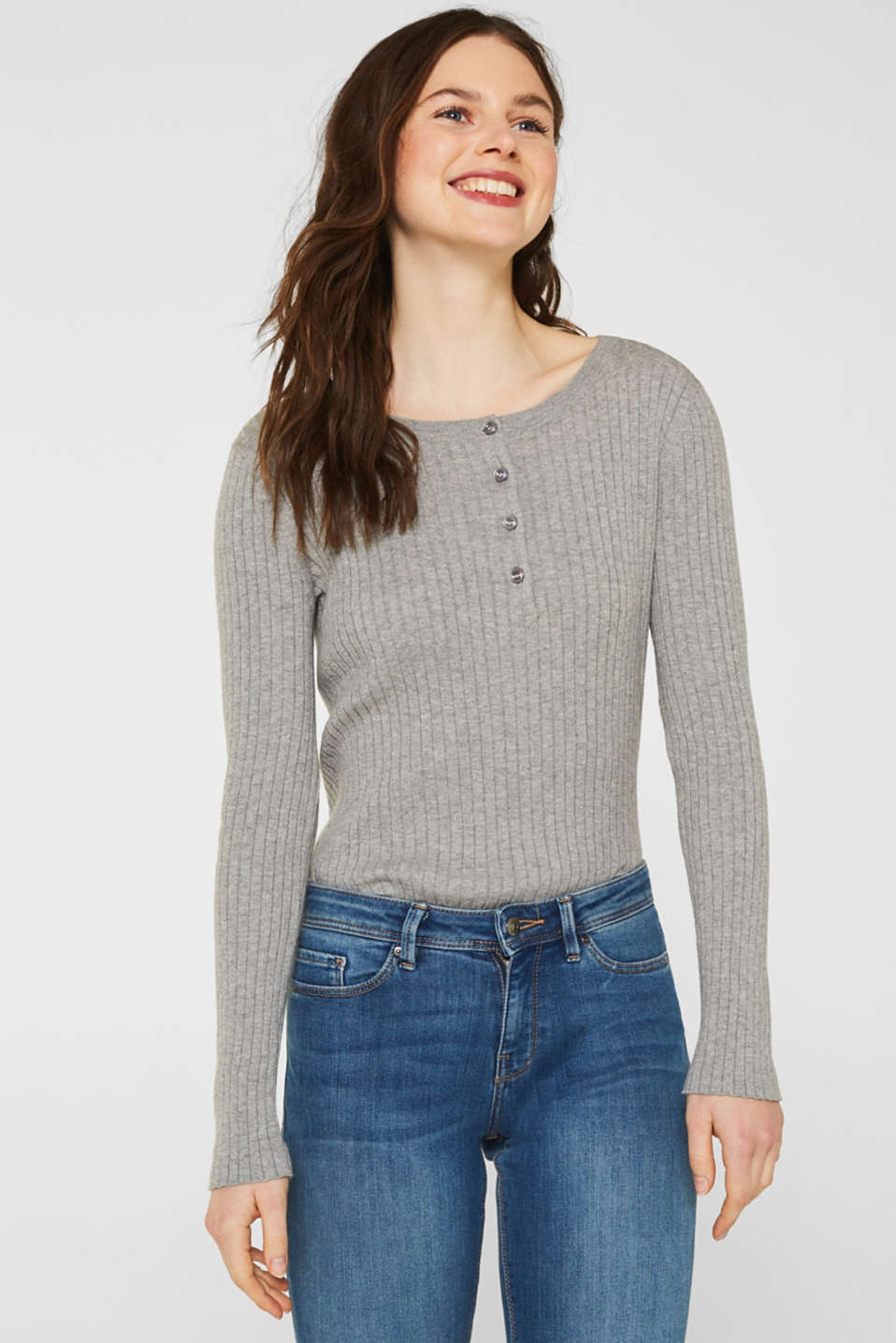 With silk: ribbed jumper with buttons, MEDIUM GREY 5, detail image number 0