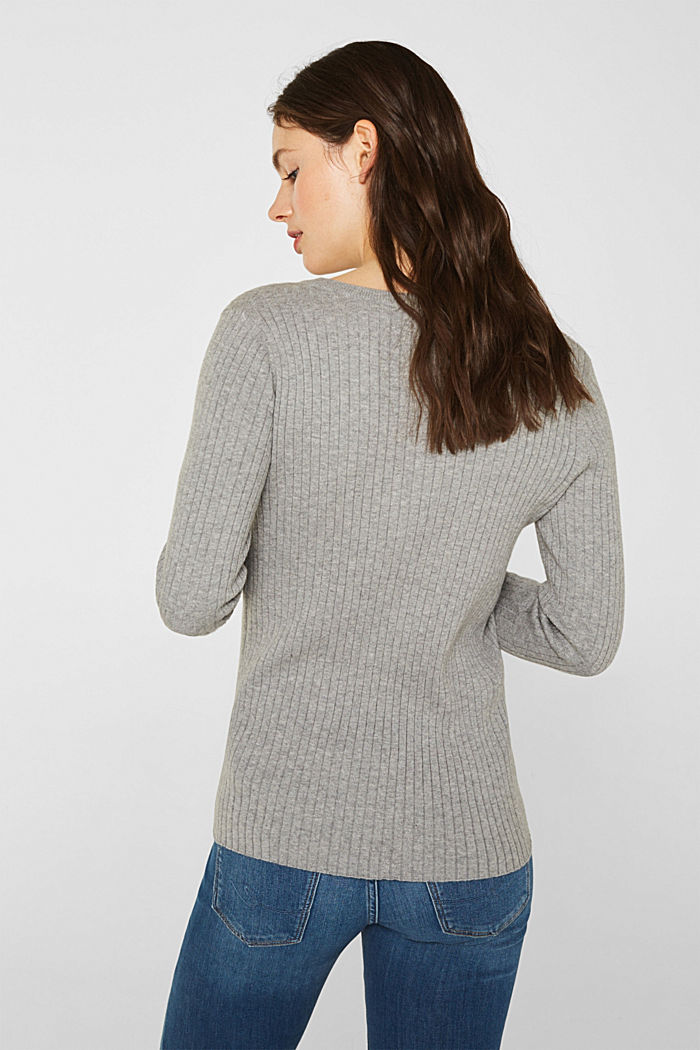 With silk: ribbed jumper with buttons, MEDIUM GREY, detail image number 3