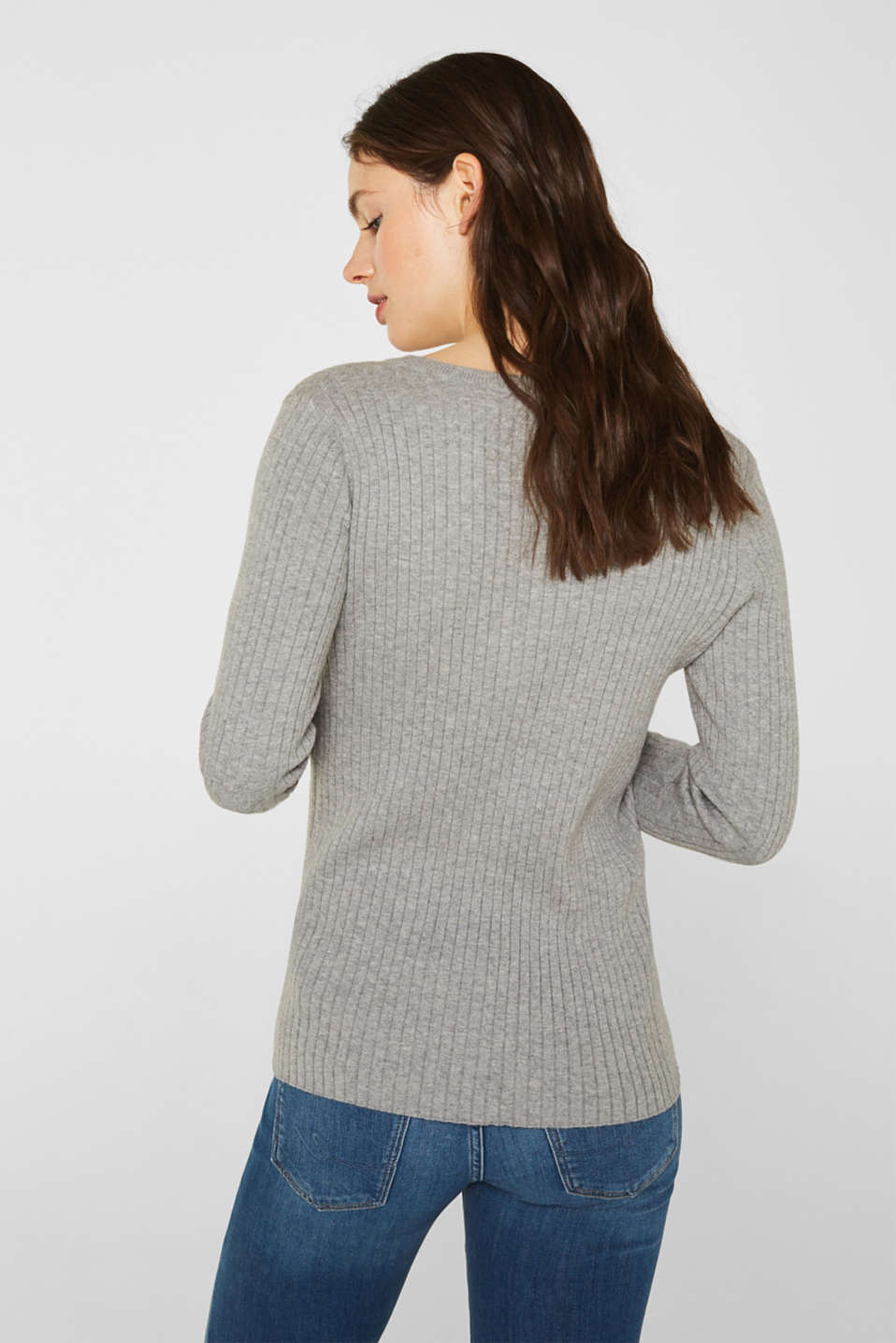 With silk: ribbed jumper with buttons, MEDIUM GREY 5, detail image number 3