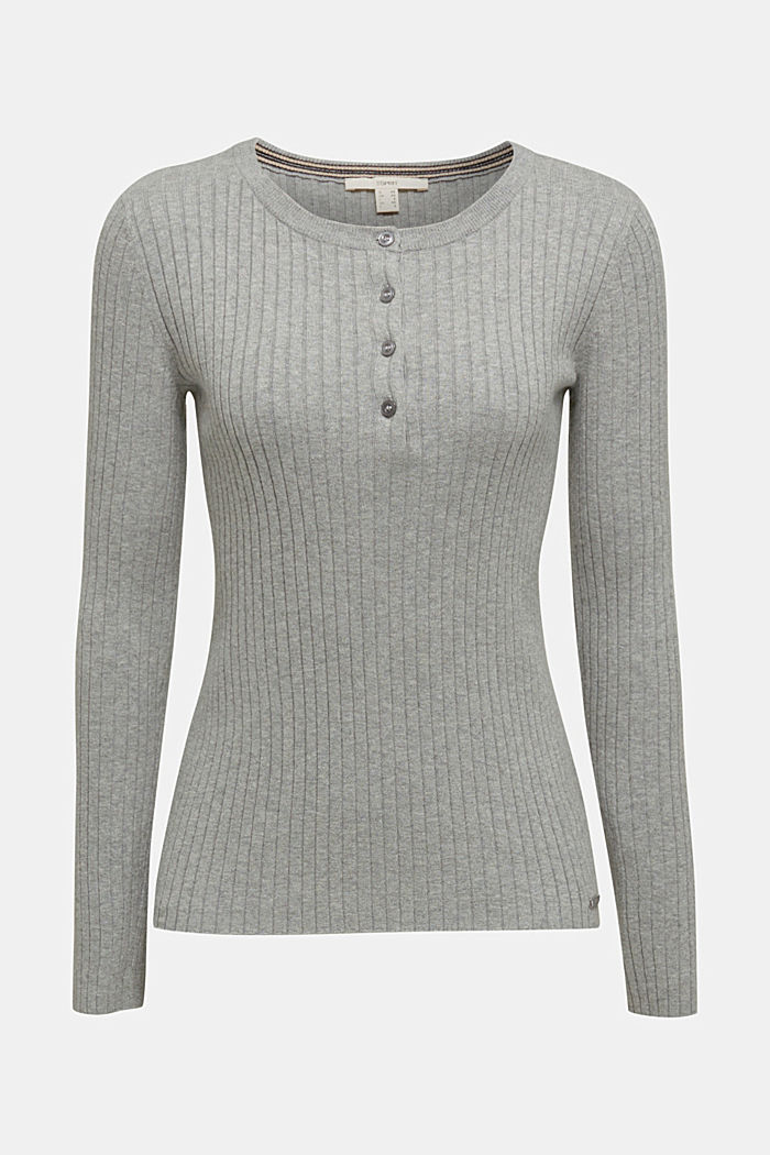 With silk: ribbed jumper with buttons, MEDIUM GREY, detail image number 6