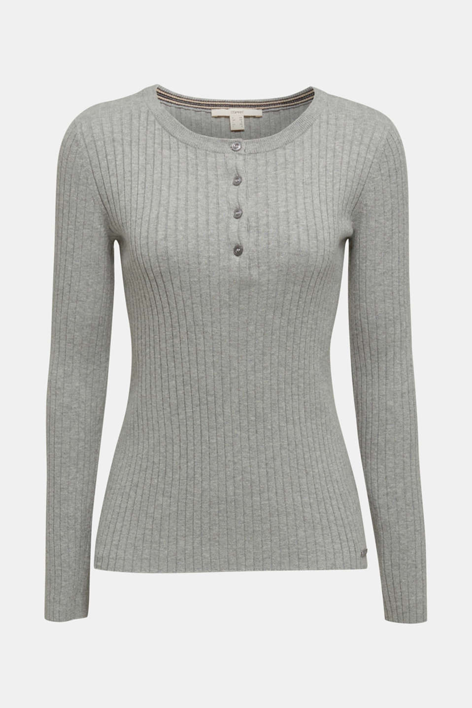 With silk: ribbed jumper with buttons, MEDIUM GREY 5, detail image number 6