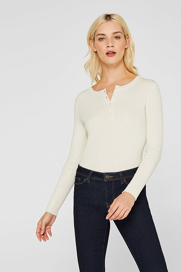 With silk: ribbed jumper with buttons, OFF WHITE, detail image number 0