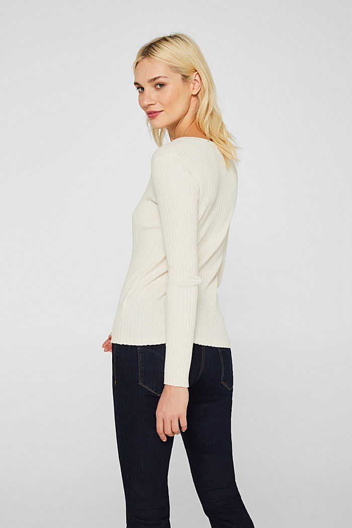 With silk: ribbed jumper with buttons, OFF WHITE, detail image number 3