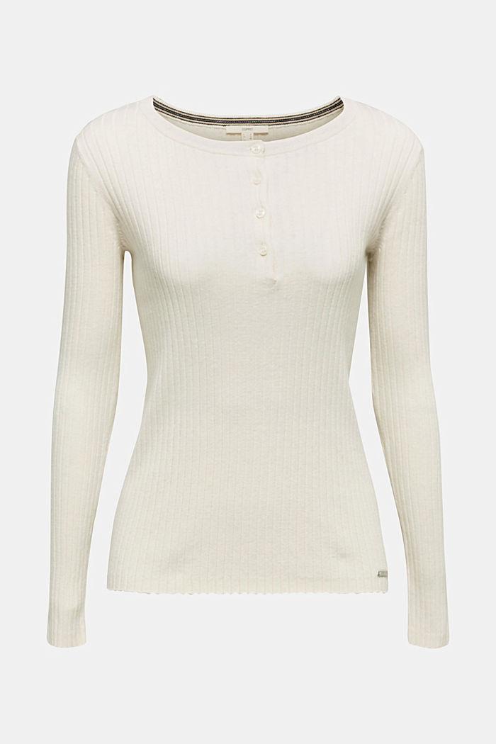 Mit Seide: Ripp-Pullover mit Knöpfen