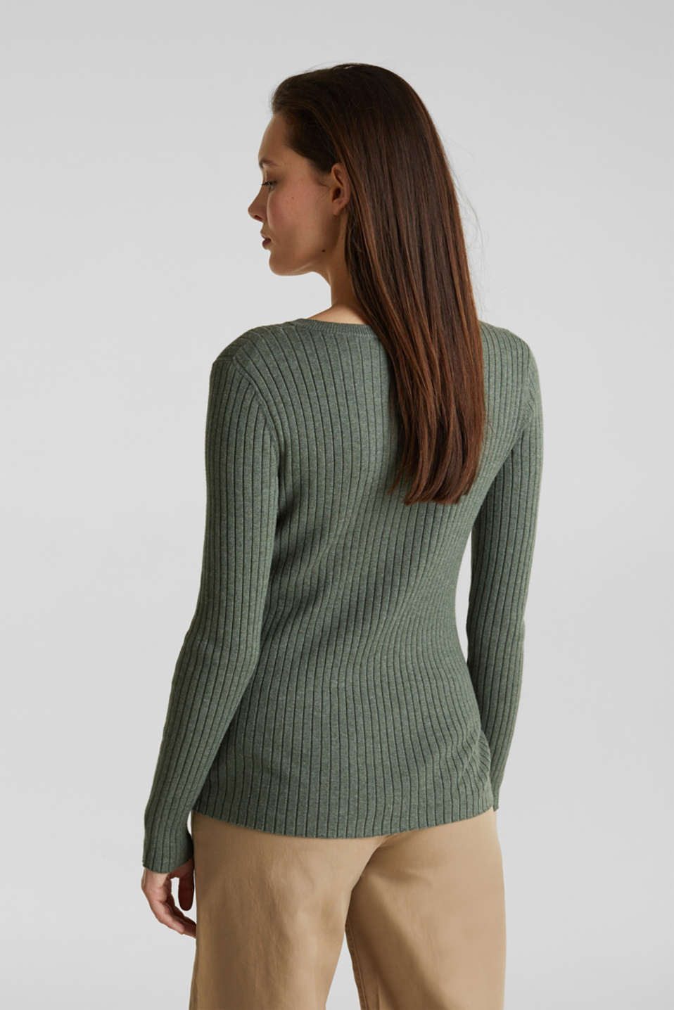 With silk: ribbed jumper with buttons, KHAKI GREEN 5, detail image number 3