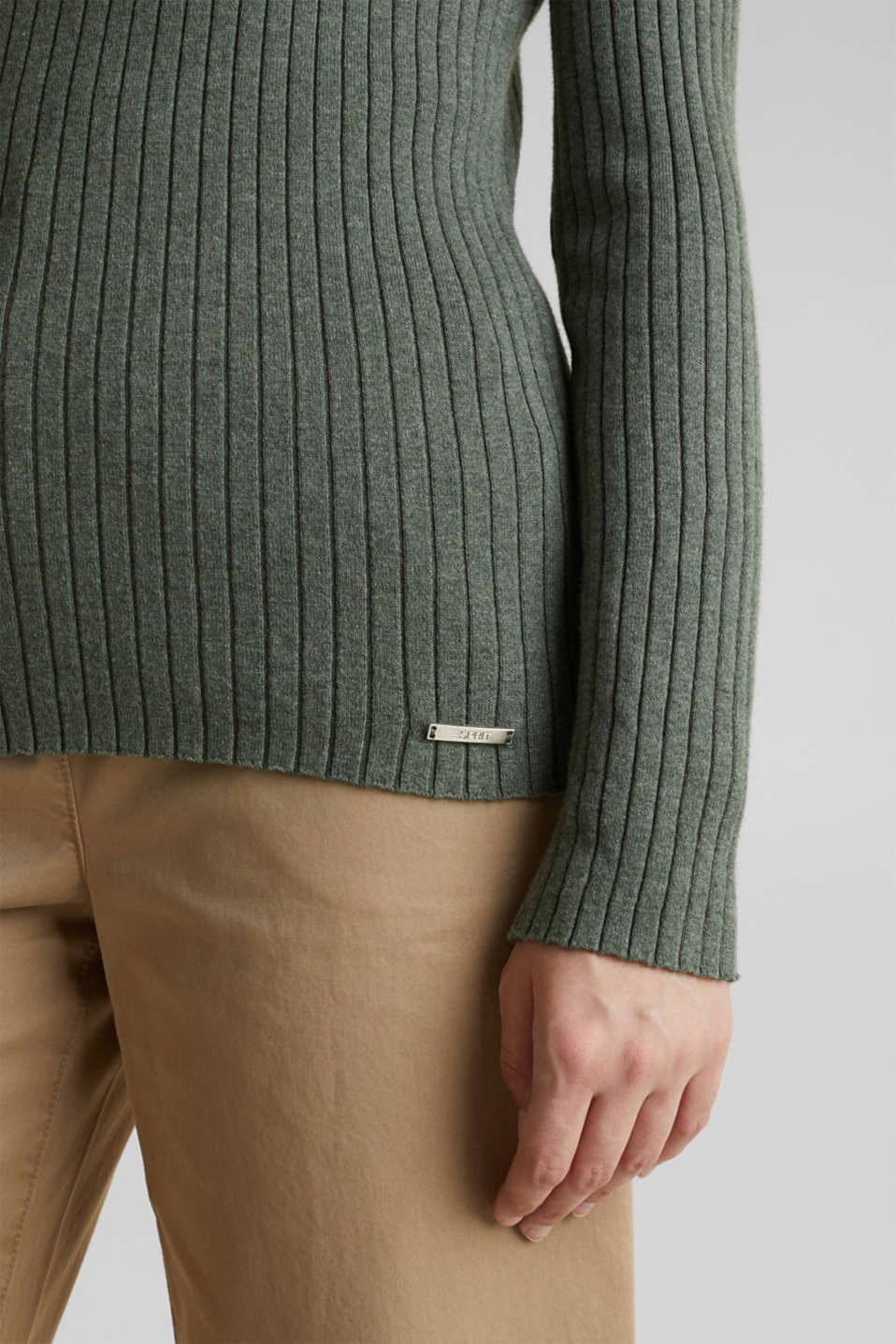 With silk: ribbed jumper with buttons, KHAKI GREEN 5, detail image number 5