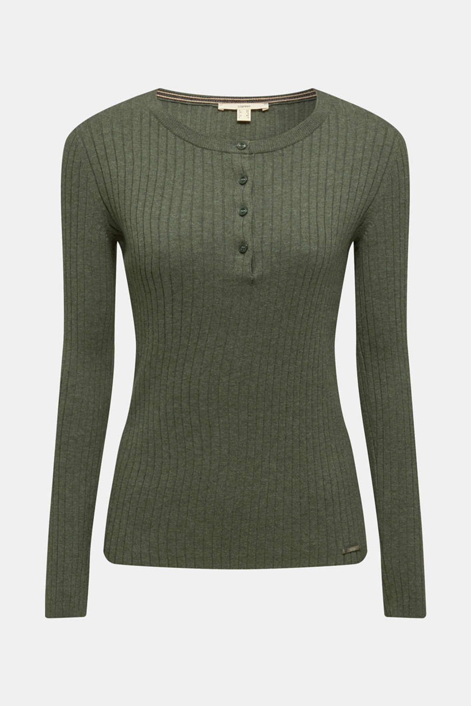 With silk: ribbed jumper with buttons, KHAKI GREEN 5, detail image number 6