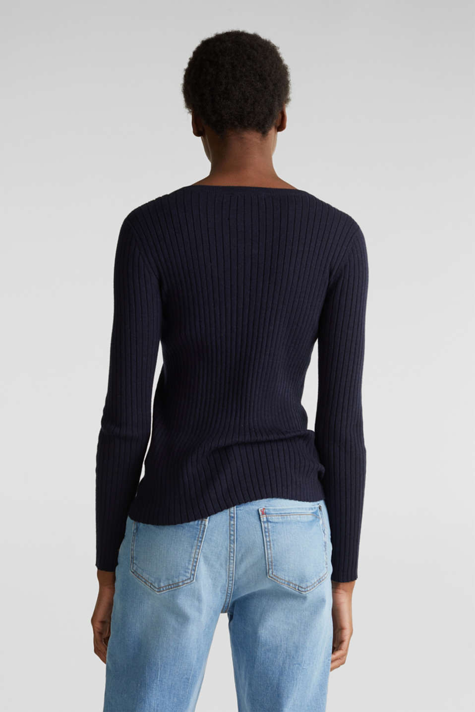 With silk: ribbed jumper with buttons, NAVY, detail image number 3