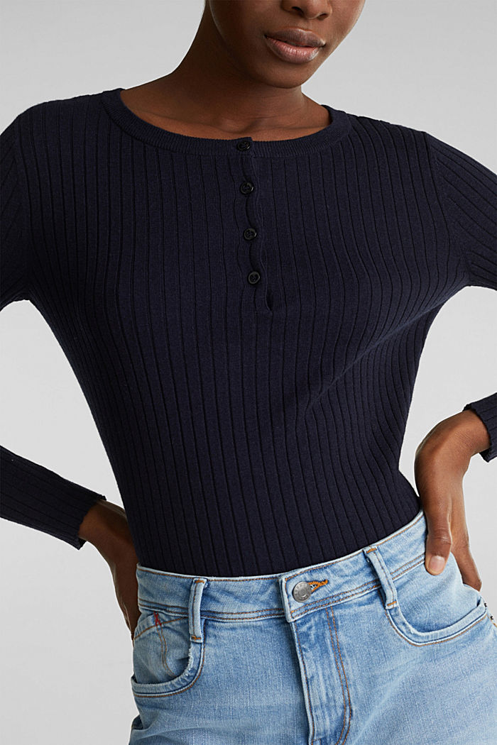 With silk: ribbed jumper with buttons, NAVY, detail image number 2