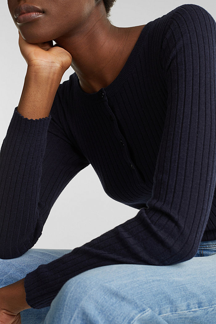 With silk: ribbed jumper with buttons, NAVY, detail image number 6