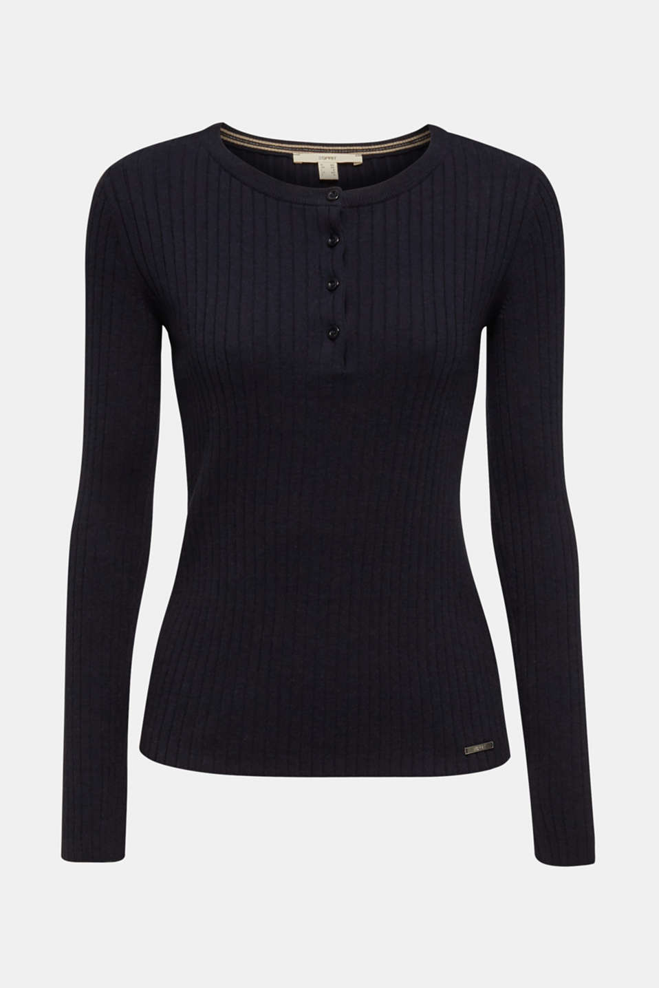 With silk: ribbed jumper with buttons, NAVY, detail image number 8