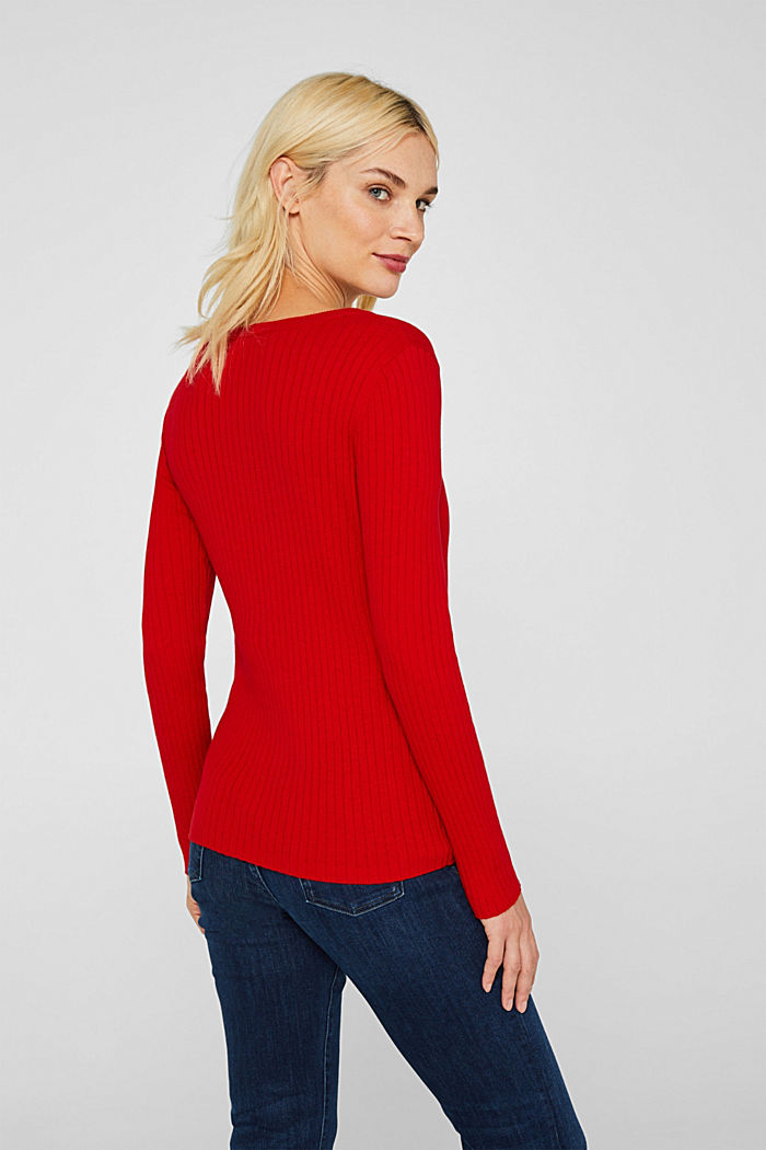 With silk: ribbed jumper with buttons, DARK RED, detail image number 3