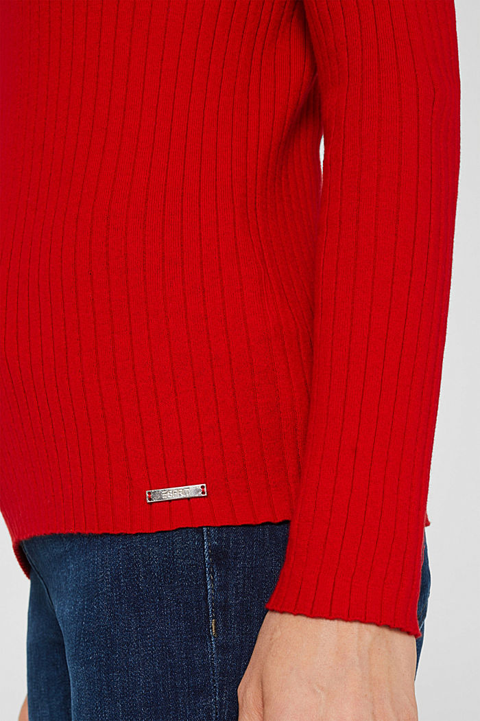 With silk: ribbed jumper with buttons, DARK RED, detail image number 4