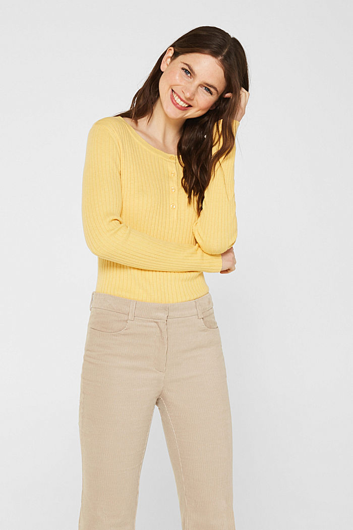 With silk: ribbed jumper with buttons, DUSTY YELLOW, detail image number 0