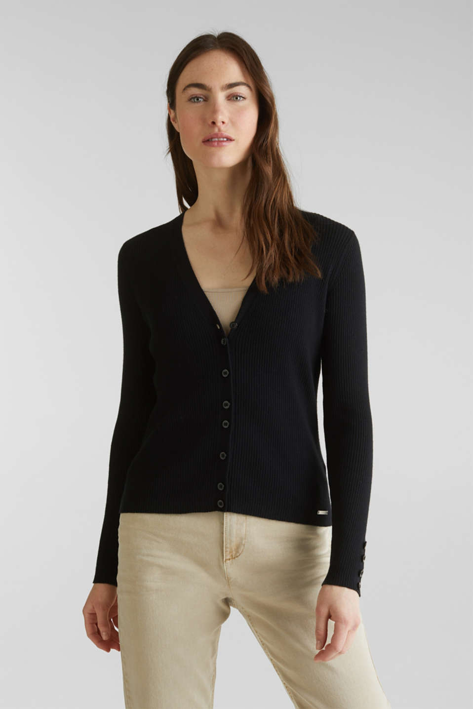 With silk: Ribbed knit cardigan