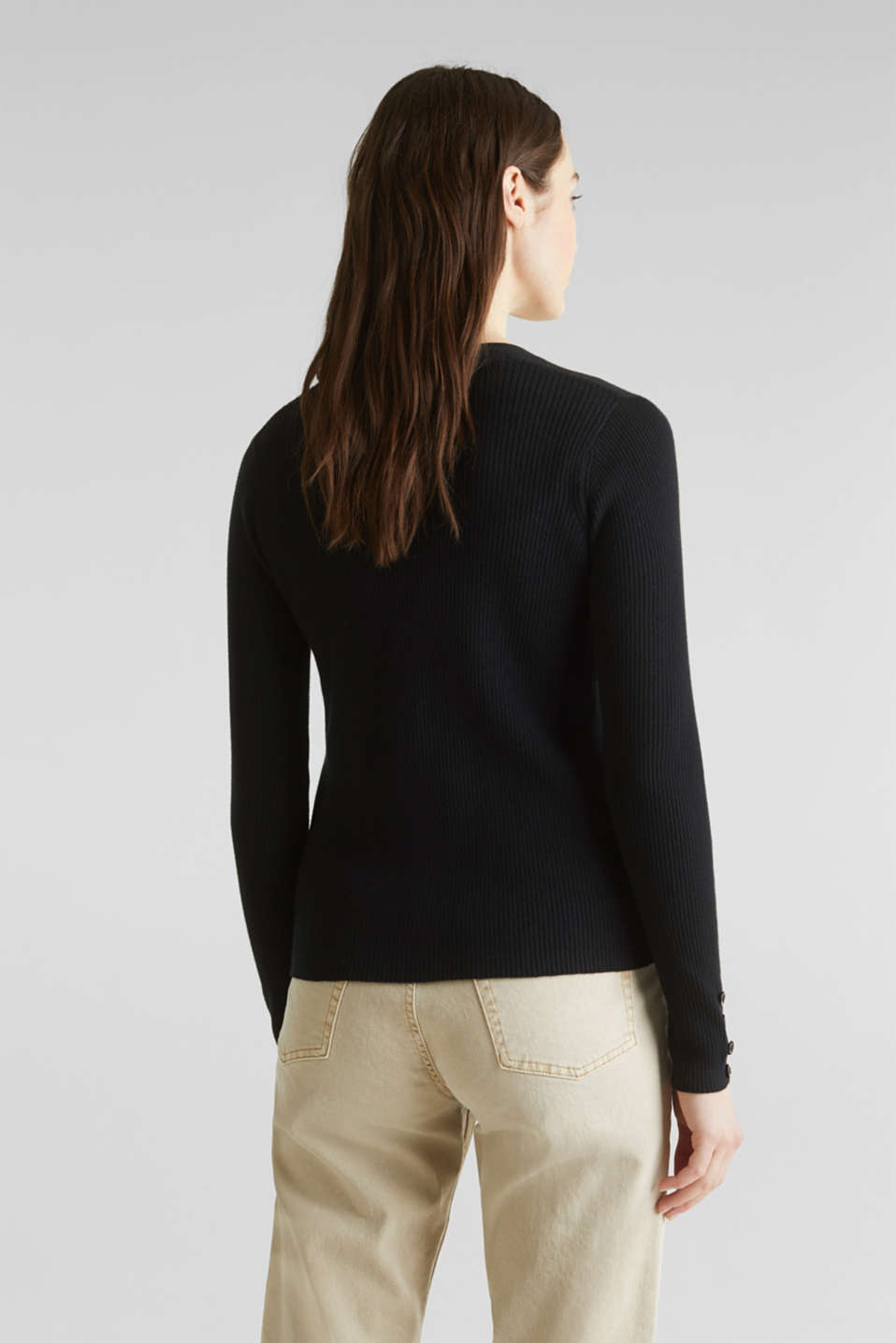With silk: Ribbed knit cardigan, BLACK, detail image number 3