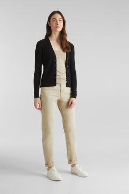 With silk: Ribbed knit cardigan, BLACK, detail
