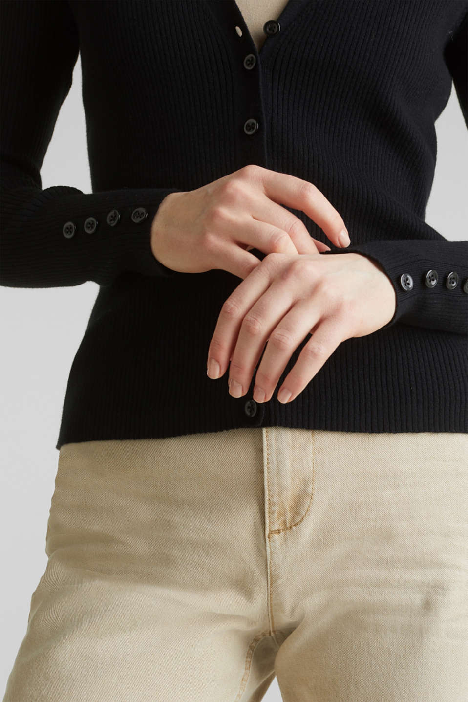 With silk: Ribbed knit cardigan, BLACK, detail image number 5