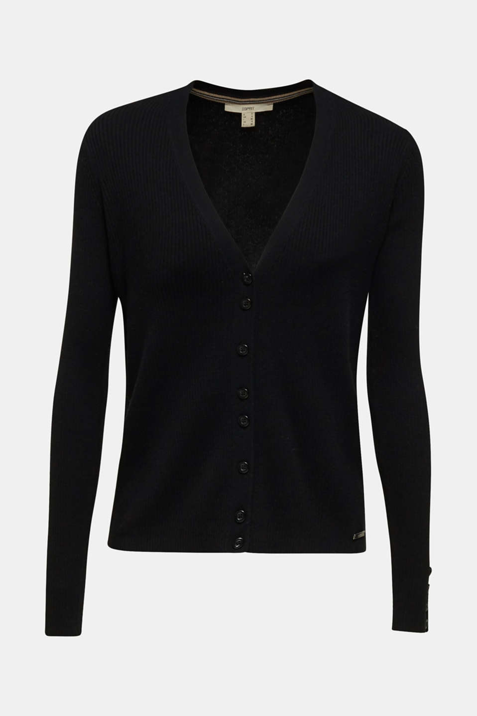 With silk: Ribbed knit cardigan, BLACK, detail image number 7