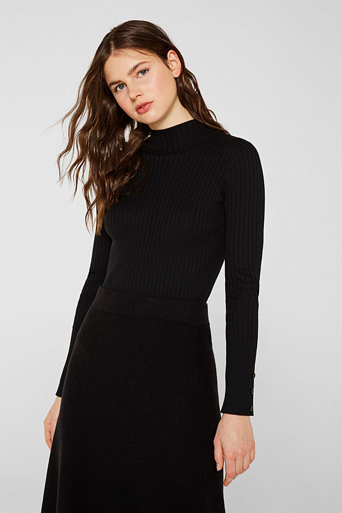 With silk: Ribbed jumper with a stand-up collar, BLACK, detail image number 0