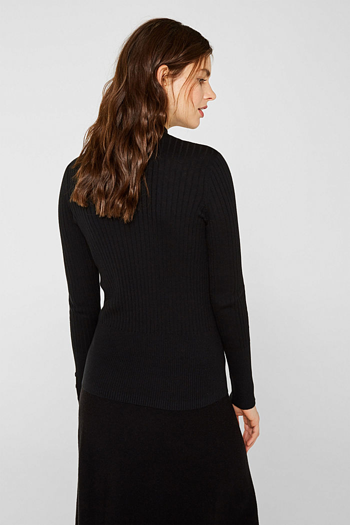 With silk: Ribbed jumper with a stand-up collar, BLACK, detail image number 3