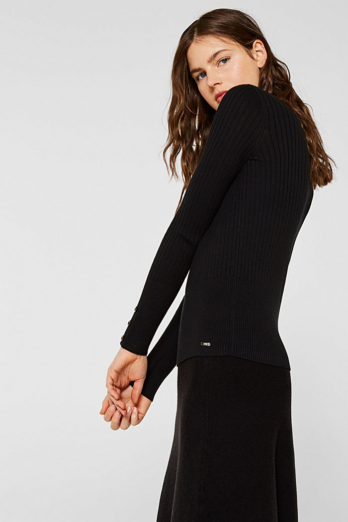 With silk: Ribbed jumper with a stand-up collar, BLACK, detail image number 5
